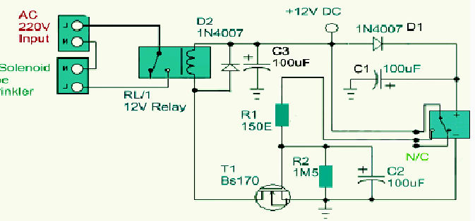 Simple PIR Motion Sensor Circuit Water Sprinkler