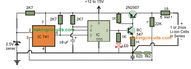 IC 555 Li-Ion Battery Charger Circuit