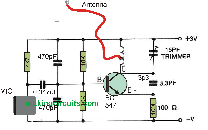 simple transmitter with etched coil layout