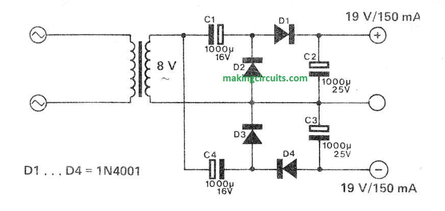 simple power supply diagram simple dual power supply circuit without center tap  simple dual power supply circuit