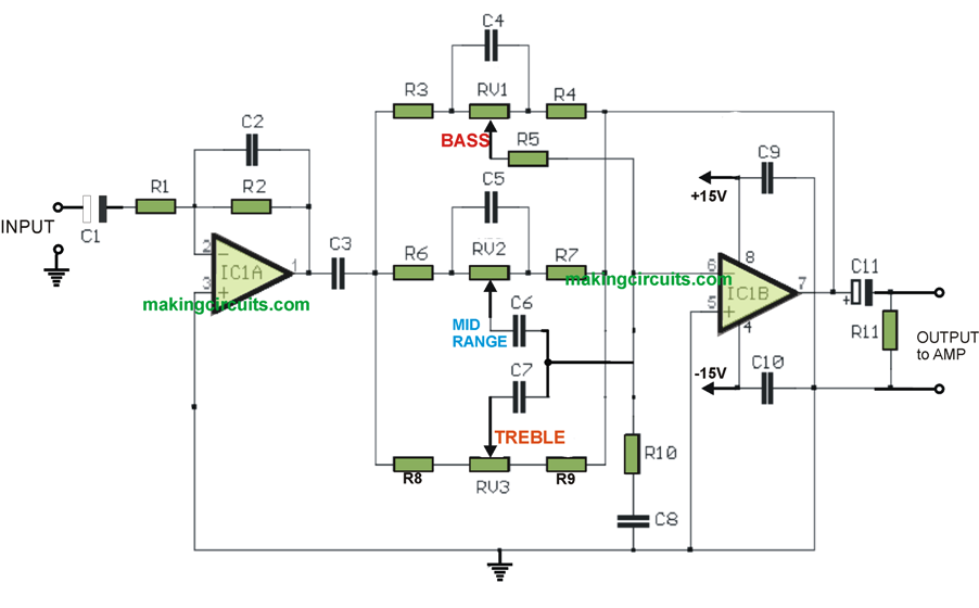 bass, treble, mid range music tone controller circuit using active opamps
