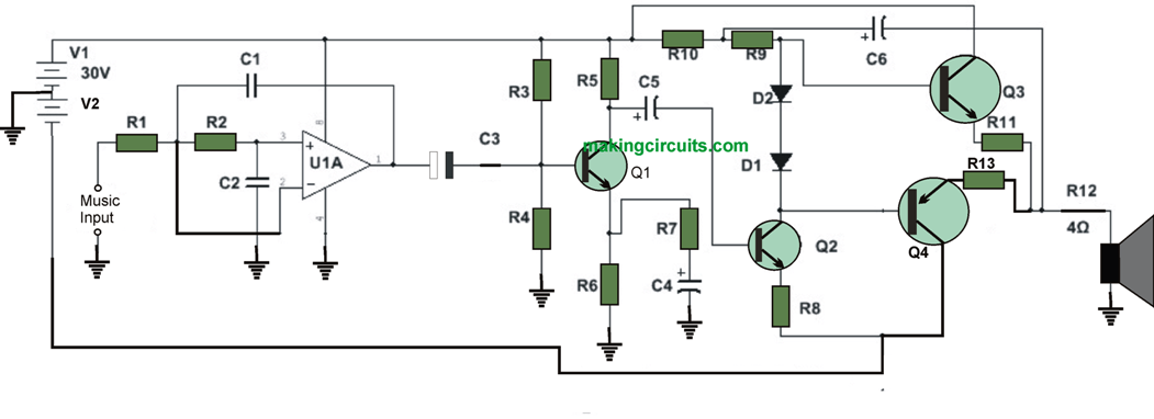 high watt subwoofer amplifier circuit