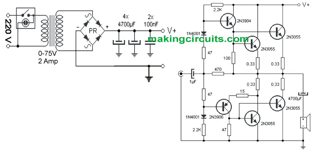 transistor wiring diagram simple 100 watt amplifier circuit using 2n3055 transistors  simple 100 watt amplifier circuit using