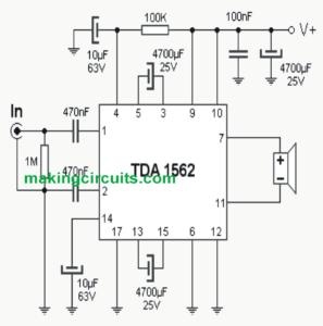 70 Watt High Efficiency Power Amplifier Circuit Using IC TDA1562