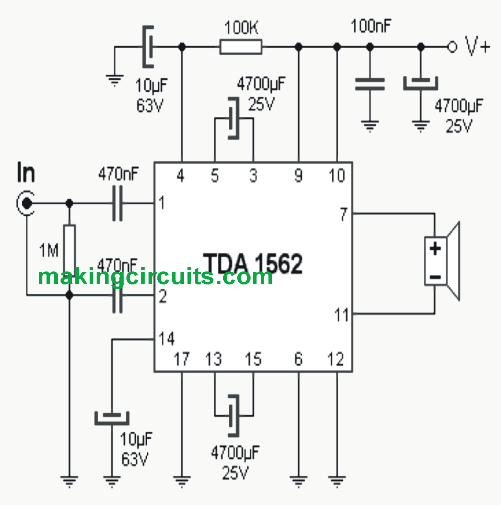 70 watt high efficiency power amplifier circuit using ic