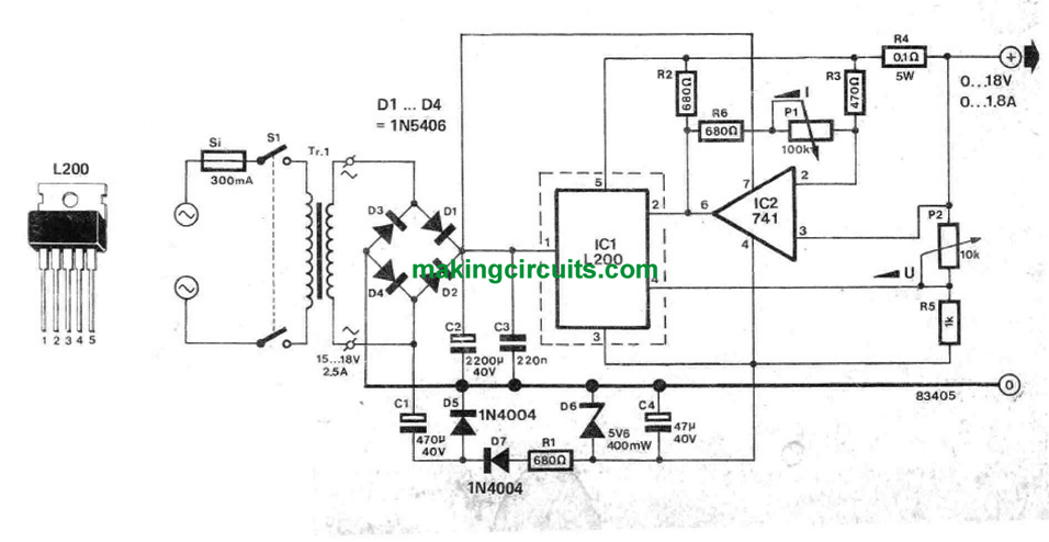 simple variable power supply circuit for benchwork