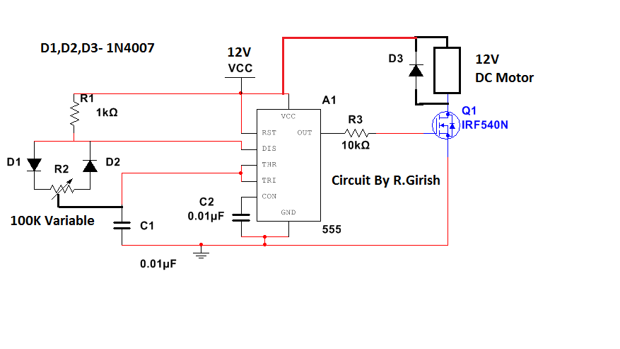 Simple 12V DC Fan Speed Controller Using IC 555