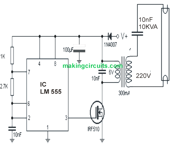 9v tubelight inverter circuit