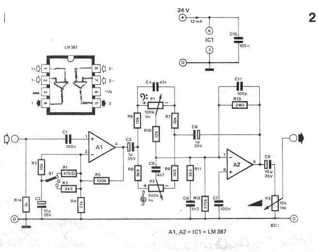 Simple Microphone Amplifier Circuit with Bass Treble