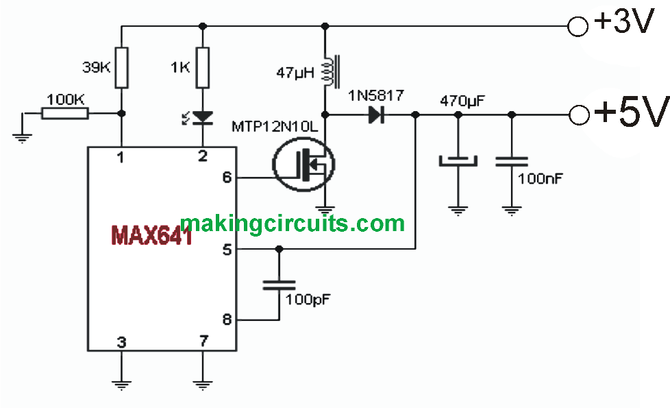 3V to 5V Boost Circuit for Battery Charging and LED Driver Applications