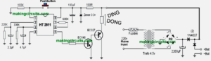 Simple 220V Ding Dong Bell Circuit