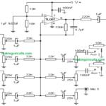 5 Input Microphone Mixer Amplifier Circuit using a Single IC