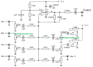 5 Input Microphone Mixer Amplifier Circuit using a Single IC