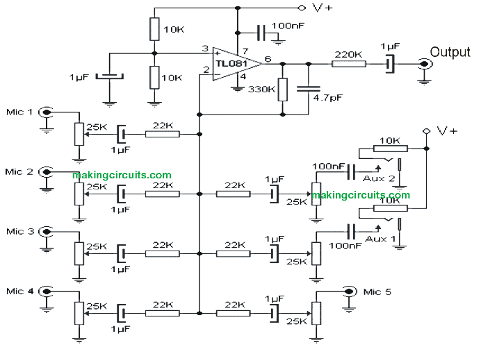 simple microphone (mic) amplifier circuits5 microphone mixer amplifier circuit