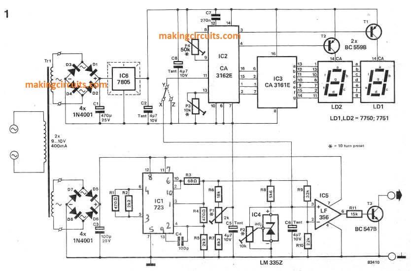 digital temperature meter circuit