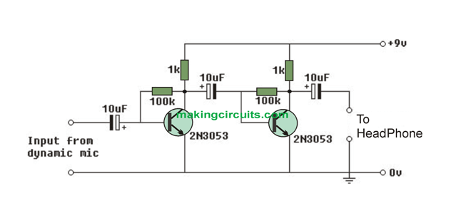 simple microphone  mic  amplifier circuits using transistors