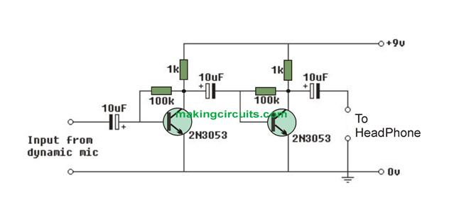 dynamic micrphone MIC amplifier circuit