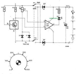 Transistor Current Gain Tester Circuit – hFE Tester