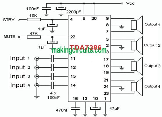 simple quadraphonic speaker circuit using single chip