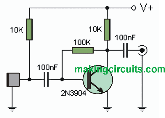 simple microphone mic amplifier circuits using transistors rh makingcircuits com Capacitor Schematic Diagram Class D Amplifier Schematic Diagram