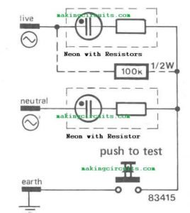 Mains Wiring Phase, Neutral, Earthing Tester Circuit