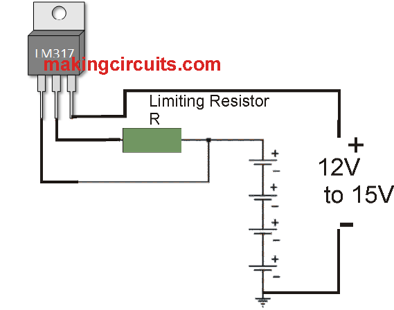 simple current controlled battery charger circuit using LM317 IC