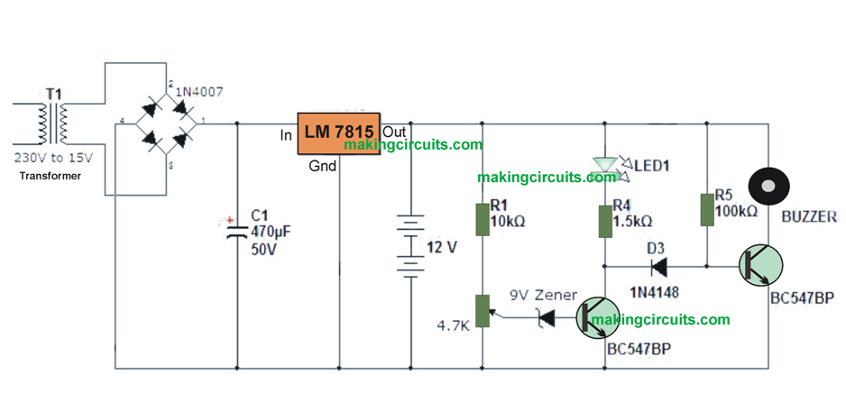 simple 12V battery charger circuit with LED and buzzer low battery indicator