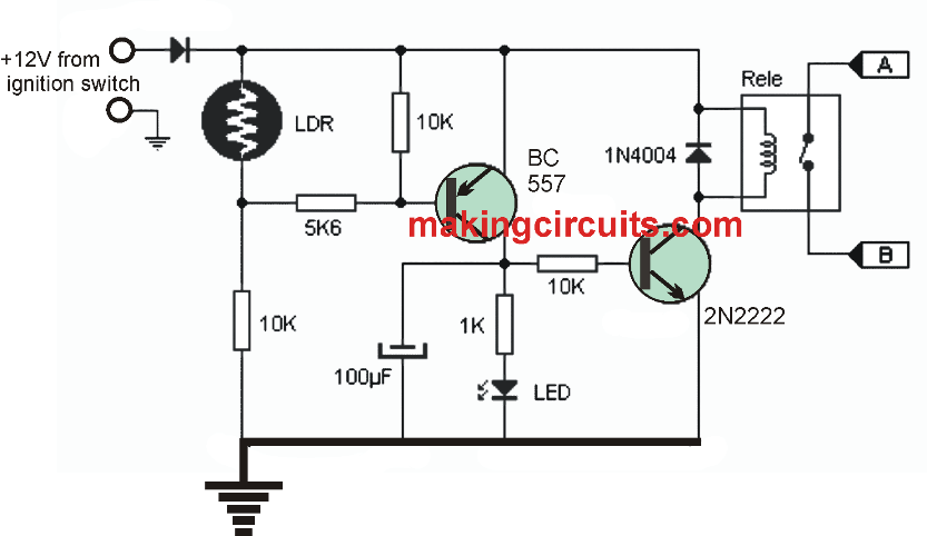 Automatic Car Day Night Triggered Headlamp Circuit