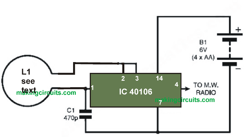 simple metal detector circuit using a single IC 40106