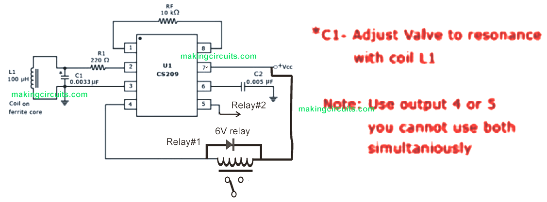 LC tuned resonance proximity sensor circuit