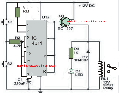 simple timer circuit 60 minutes