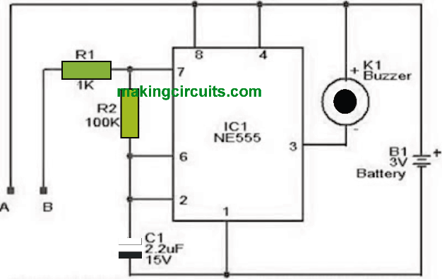 simple water level alarm circuit using IC 555