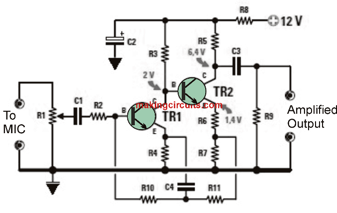 dynamic mic preamplifier circuit rh makingcircuits com dynamic microphone amplifier circuit diagram microphone preamp schematic diagram