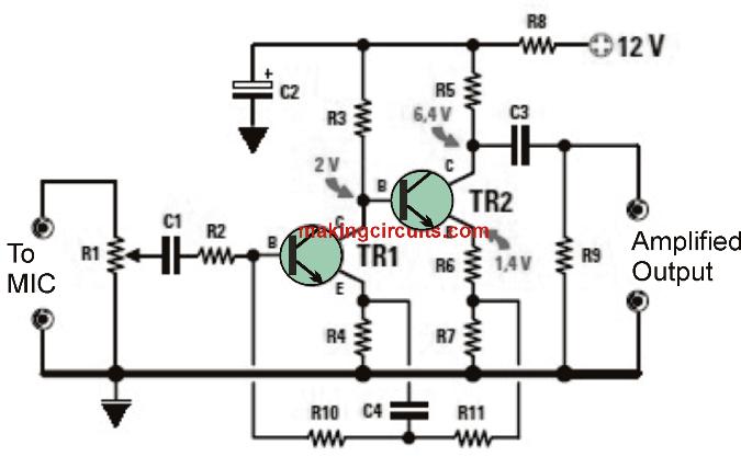 MIC preamplifier circuit dynamic
