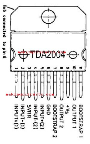 simple stereo amplifier circuit using ic tda2004tda2004 pin configuration top view