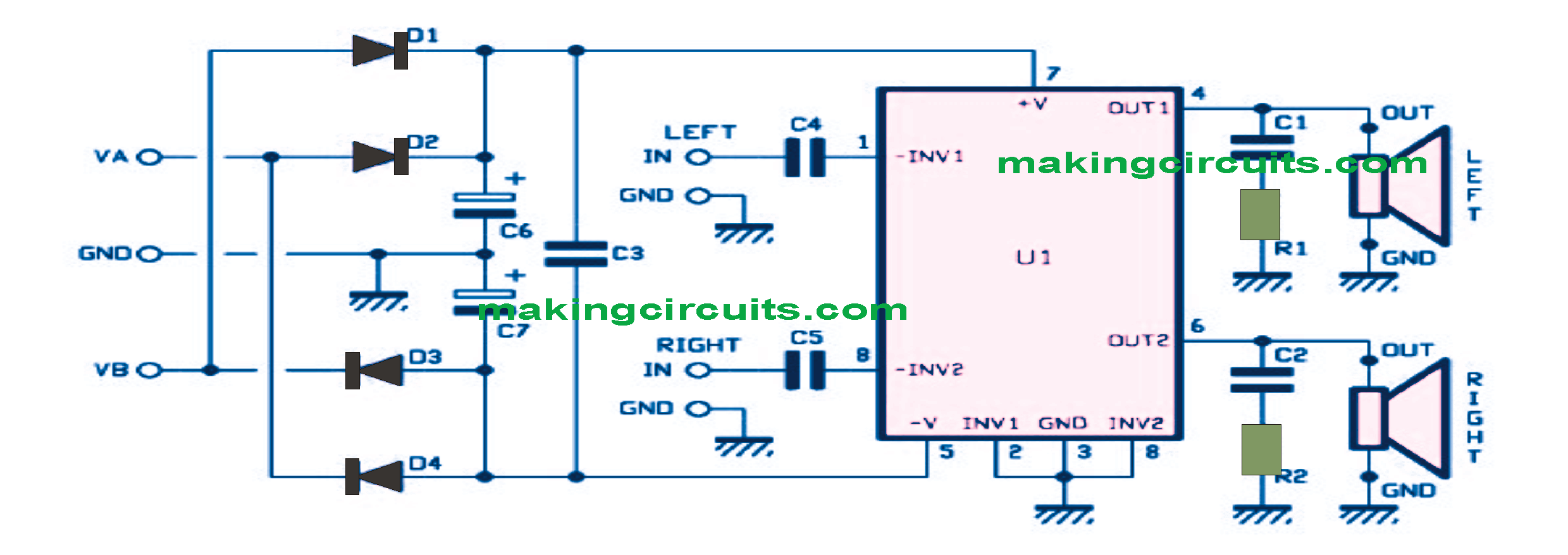 30 Watt Stereo Amplifier Circuit Using IC TDA1521