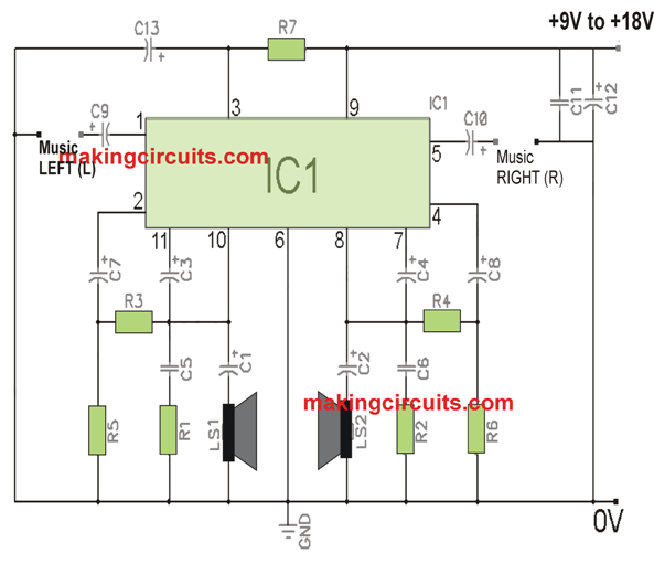 simple stereo amplifier circuit using ic tda2004Power Amplifier Ic Tda2004 #3