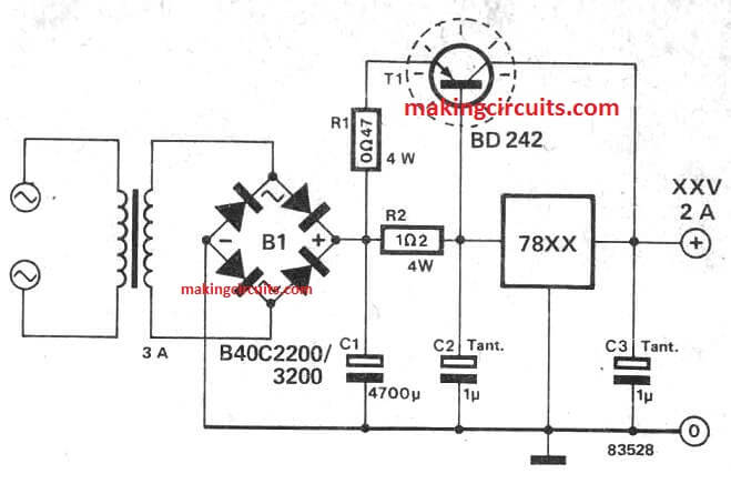 ic 7812  7805 current booster circuit