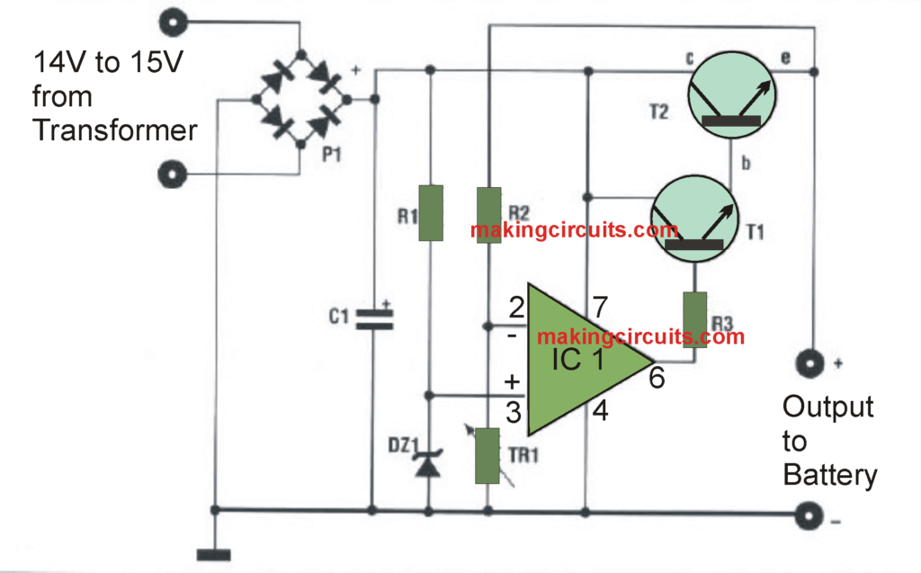Automatic 12V Battery Charger Circuit