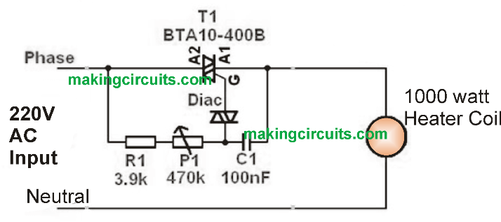 Simple 1000 watt Heater Controller Circuit