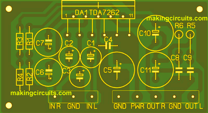 TDA2004/TDA2005 20watt stereo amplifier PCB layout