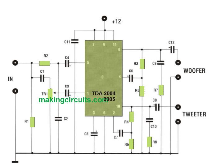 20 watt speaker amplifier box circuit with built-in woofer tweeter