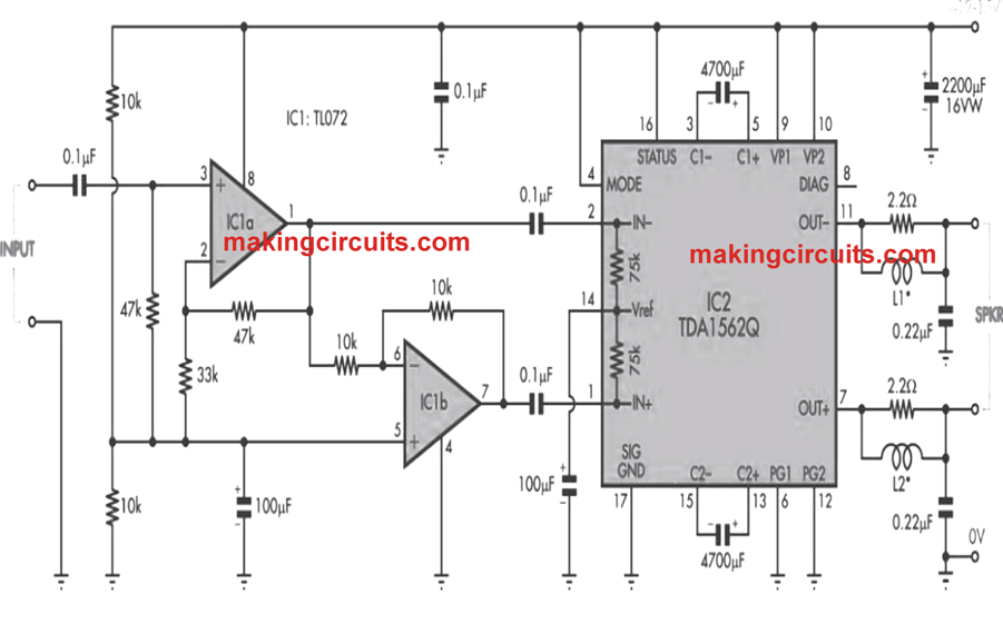 36 watt power amplifier circuit