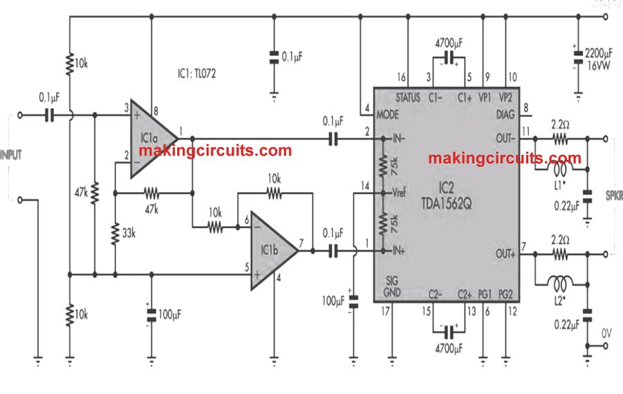 36 watt power amplifier circuit