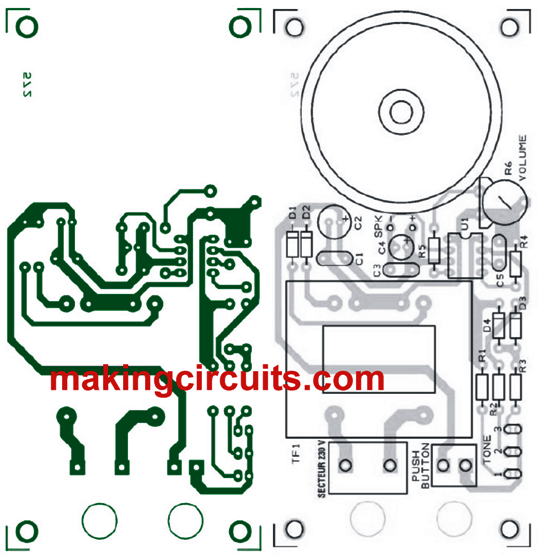 PCB Design and Component Overlay for the electronic programmable musical door bell circuit