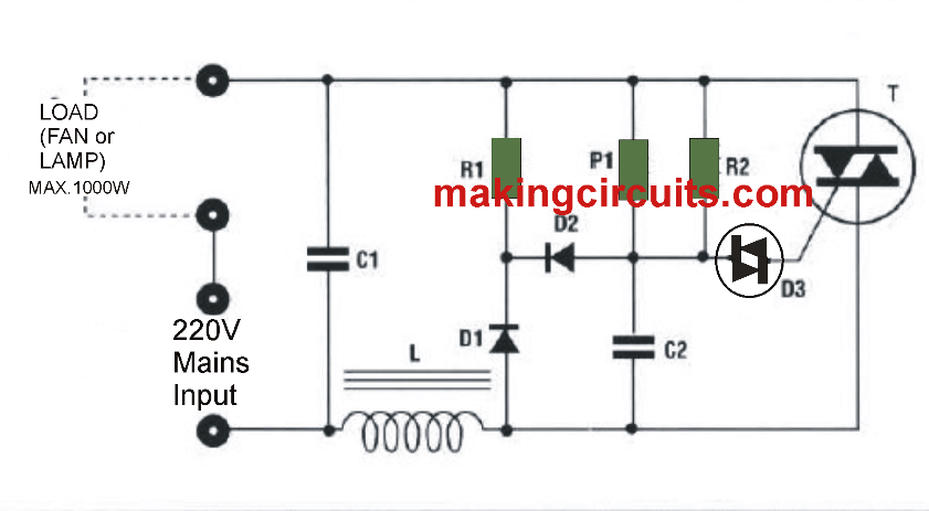 simple fan regulator circuit 220V
