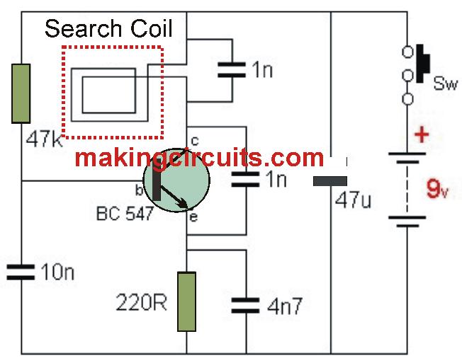 simple metal detector using single transistor