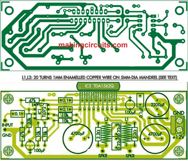 PCB for the 36 watt amplifier circuit