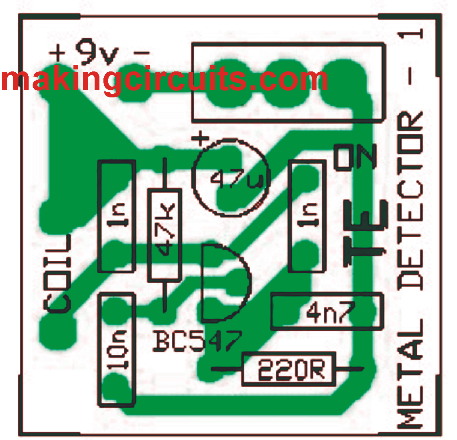 PCB for metal detector circuit