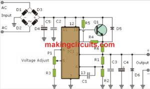 Adjustable Power Supply 3 to 30V 3A Circuit